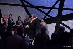 Kissing Martin after the National Sawdust 70th b'day show! Nov 6 2016 photo by Jill Steinberg